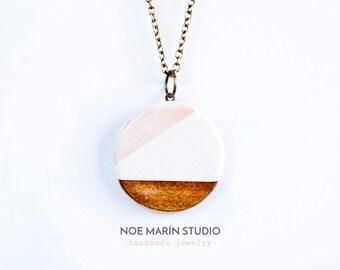 Ceramic geometric necklace pendant, Modern contemporary necklace, Ceramics necklace, Ceramic jewelry, Ladies necklace, Ceramics & pottery