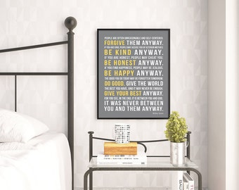 Mother Teresa Quote Print, Do It Anyway, Inspirational Quote Poster, Home Decor, UNFRAMED