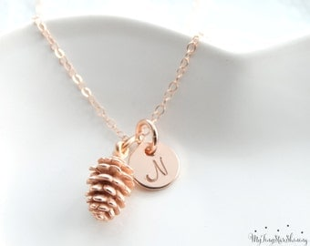 Pinecone Necklace Pinecone Pendant Pine Cone Necklace Pinecone Jewelry Initial necklace rose gold filled Necklace
