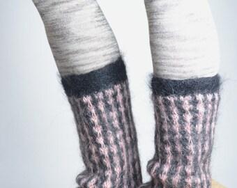 SUMMER SALE Mohair Wool Leg Warmers - Hand Felted Leg Warmers - Upcycled Leg Warmers - OOAK