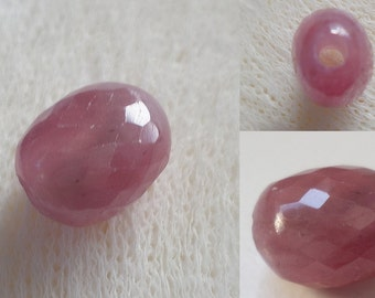 1 - Large Hole - Pink Sapphire - Micro Faceted - Focal - Oval - Nugget Bead, AA 2mm Big Drill Hole Precious Gemstone Bead, Loose Bead