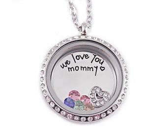 Personalized Mommy Locket Necklace - Engraved Jewelry - Memory Locket - Floating Charm Locket - Love You Mommy - Mother Jewelry Gift - 1245