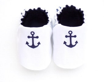Nautical Baby Boy Shoes with Anchors, White Sailor Shoes, Slip-on Baby Shoes, Crib Shoes, Navy Anchors, 0-6 mos. Baby Booties, Baby Gift