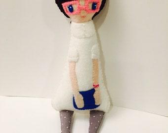 Hipster Girl Plushie. Softie. Felt Doll.