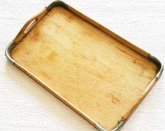 Vintage Romantic Home Handled Distressed Wood Serving Tray with Metal Band Trim, Olives and Doves