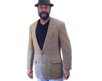 90s Brooks Brothers Blazer, Houndstooth Sport Coat, Made in USA Brooks Bros Wool Blazer, Brooks Brothers Jacket, Size 40R