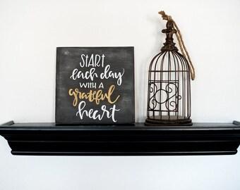Grateful Heart Handpainted Wood Sign