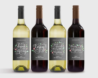 wine bottle labels etsy. Black Bedroom Furniture Sets. Home Design Ideas