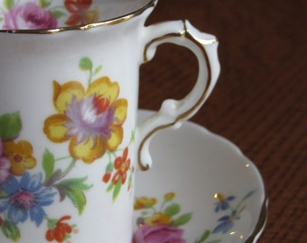 Vintage Hammersley and Co Demitasse, Tea Cup, Teacup, Saucer, Bone China Demitasse, England, 4489Z, Floral, Roses,Pink Blue Yellow, Romantic