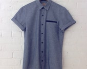 Blue Cotton Oxford Buttondown with Contrast Navy Welt Pocket // Small, Medium, and Large