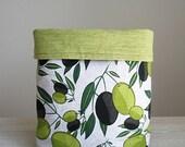 Large fabric basket, Storage basket, Fabric bin, Knitting basket, Kitchen decor, Home organizing ideas, Housewarming Gift Hamper, Botanical