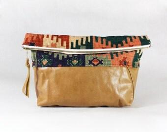 Repurposed Tan Leather Bottom Foldover Clutch Bag
