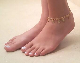 Gold Coin Anklet - Anklet Bracelet - Gold Anklet - Ankle Bracelets , Foot Jewelry , Gold Ankle Bracelet , Anklet Jewelry  , Boho Anklet