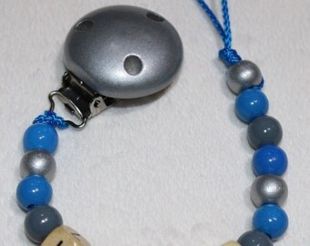 Personalised Wooden Dummy Chain / Baby Boy Pacifier Clip / Blue, Silver and Grey