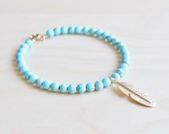 Turquoise jewelry / stone beads bracelet / Christmas jewelry gift / feather charm bracelet