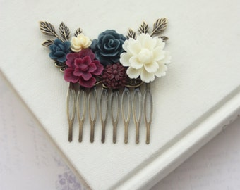 Wedding Hair Comb, Burgundy Floral Comb, Ivory Cream Maroon Navy Blue Wedding, Masala Navy Blue Hair Piece, Rustic Romantic, Bridesmaid Gift