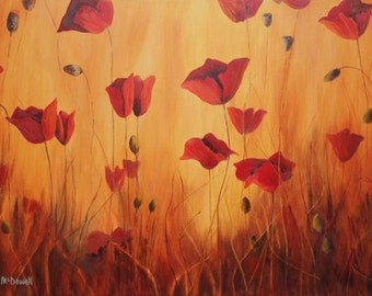 Poppies painting Poppy flowers Floral art print Poppy wall art Large wall art Flower art print Red Decor Bedroom Office Hallway Yellow