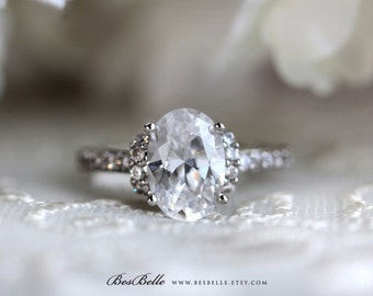3.27 ct.tw Art Deco Ring-Art Deco Engagement Ring-Oval Cut Diamond Simulant-Bridal Ring-Promise Ring-Solid Sterling Silver [4519]