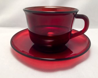 Arcoroc France Ruby Red Glass Cup & Saucer Set; Red Arcoroc Glass; Coffee Cups; Tea Cups; Cup and Saucer Set; Arcoroc France