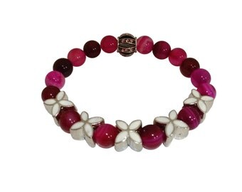 Womens Multicolor Rainbow Bracelet Fuchsia Beads