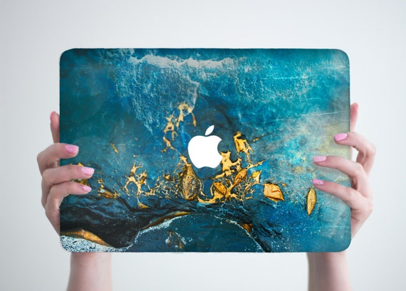 blue gold marble macbook case hard laptop case by