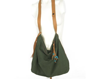 Zippered Bag, Slouchy Bag, Canvas Bag, Linen Bag, CrossBody Bag, Army Green Bag, Shoulder Bag, Zippered CrossBody, Spring Summer Bag