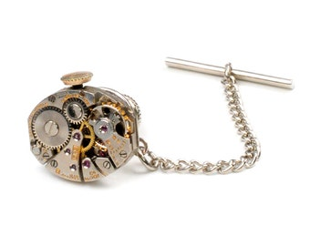 Vintage Boluva Watch Movement Tie Tack Pin Chain Clip