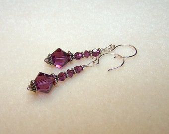 Purple Crystal Earrings Amethyst Crystal February Birthstone Jewelry for Women Gift Ideas for Her Silver Dangle Purple Earings Ready to Ship
