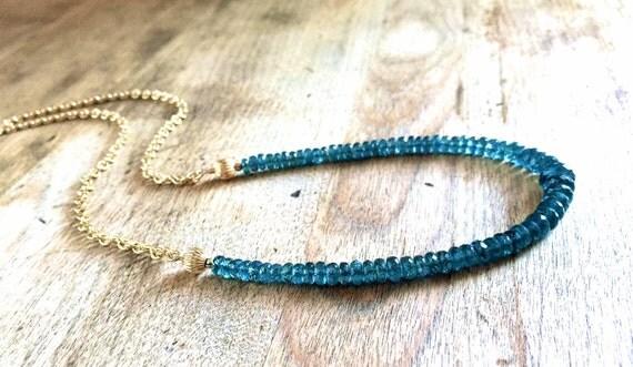 Faceted Kyanite Gemstone Necklace Gold Filled