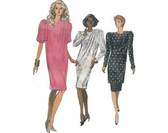 1980s Tapered Chemise Dress or Tunic with Skirt Uncut Very Easy Vogue 7472 Pleated Shoulder Shift Bust 42-46 Full Figure