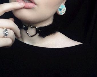 BDSM Collar Choker, Submissive Collar Heart Chocker, Goth Choker Necklace, Furry Chocker Collar, Pastel Goth Kink Black Fuzzy Choker