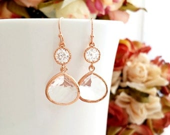 Rose Gold Earrings, Clear Crystal Wedding Earrings, Drop, bridesmaid Earrings, bridal Earrings, Gold earrings, Bridesmaid Gift