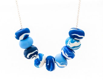 Handmade Polymer Clay Jewelry Necklace: Sky and Sea
