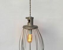 Whisk Pendant Lamp, Reclaimed Lighting, Hobart Whisk, Industrial Lighting Pendant, Unique Lighting, Whisk Pendant Light, Farmhouse Lamp