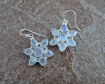 Rainbow Moonstone Flower Earrings, Moonstone Silver Earrings,Moonstone Jewelry, Flower Earrings, June Birthstone, Gift, Bridal