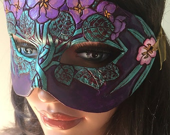February Birthflower Violets and Primrose Leather Mask - Limited Edition 1 of 10 Floral Birthstone Art Nouveau Mardi Gras Masquerade
