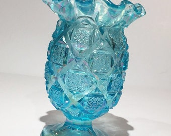 Ice Blue Iridescent Westmoreland Glass Vase, Blue Carnival Glass Ruffled Vase,Atomic Pattern Westmoreland Iridescent Blue Celery Jar or Vase