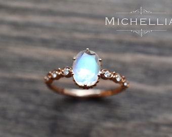 Rose Gold Moonstone Engagement Ring with Diamond, 14K 18K Solid Gold Rainbow Moonstone Crown Promise Ring, Blue Moonstone, Yellow White Gold