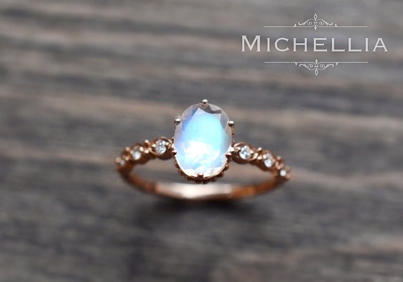 rose gold moonstone engagement ring with diamond 14k 18k