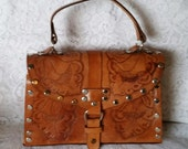 Vintage Handbag, Beautiful Vintage Hand Tooled Caramel Colored Leather Top Handle Boho-Chic Handbag.