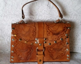 Vintage Handbag, Beautiful Vintage Hand Tooled Caramel Colored Leather Top Handle Boho-Chic Handbag.