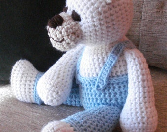 "Crocheted teddy bear stuffed animal doll toy ""Curtis"""