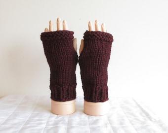 Knit Fingerless Gloves ~ Chunky Knit Mitts ~ Claret Gloves - Garnet Knit Wristwarmers - Burgundy Fingerless Gloves - Maroon Gauntlets