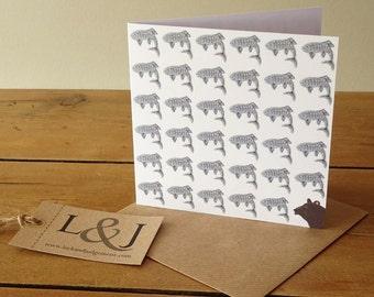 Bear Card - Grizzly Bear - Bear Greeting Card - Salmon - Wildlife Card - Bear Illustration - Salmon Drawing - Bear - Greeting Card - Card