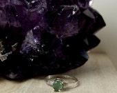 Chalcedony - Mint Green Cloudy Chalcedony Stone Sterling Silver Simple Stacking Ring - Size 7