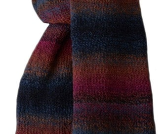Hand Knit Scarf - Navy Burgundy Terracaotta Striped Keepsake Wool