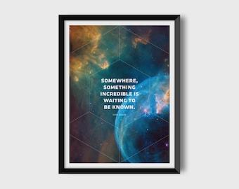 Carl Sagan / Space Art / Astronomy Art / Digital Download / Digital Print / Printable Art / Carl Sagan quote / Geometric Print / 12 x 16 in