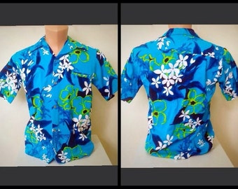Fabulous vintage 1960's hawaiian bark cloth /aloha /beachcomber/resort /leisure /tiki mens shirt