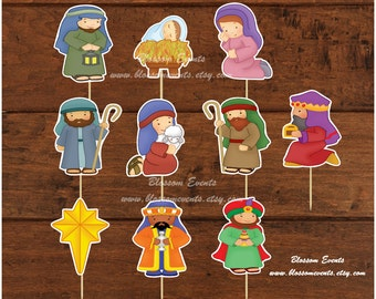 Nativity Cupcake toppers. (12)