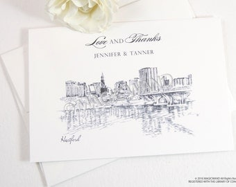 Hartford Skyline Wedding Thank You Cards, Personal Note Cards, Bridal Shower Thank you Cards (set of 25 cards)